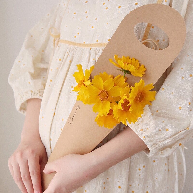 5pcs Simple Kraft Paper Bag Packaging Single Rose Bag Valentine's Day Flower Bouquet Pack Bags Decor Mini Floral Bag