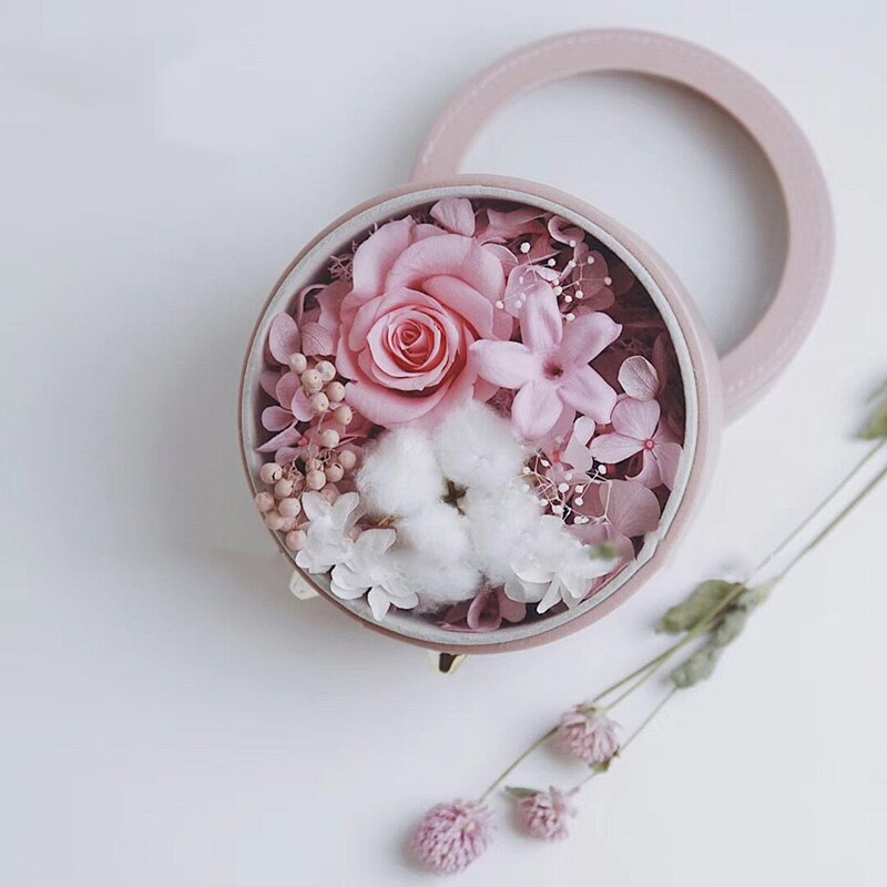 Round Leather Flower Box Wedding Gift Florist Bouquet Packaging Boxes Decoration Floral for Supplies Wrapping Flower Boxes