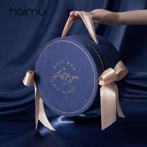 Romantic Round Velvet Box Baby Birthday Party Favor Packaging Gifts Box Wedding Gift Packing Box with Portable Ribbon