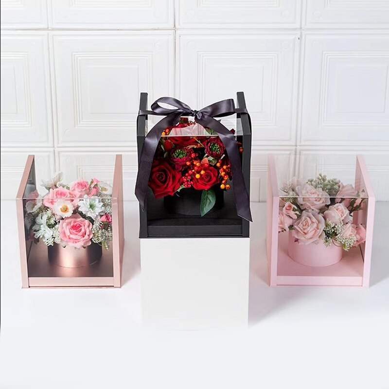 Square Acrylic Transparent Box Packaging Flower Bouquet Box Birthday Gifts Packing Box Forist Wedding Decoration Boxes