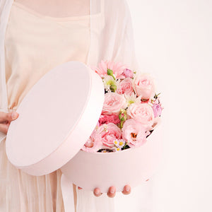 Creative Solid Square Round Gift Box Rose Valentine's Day Birthday Party Favor Packaging Flower Decoration High-Grade Hand Boxes