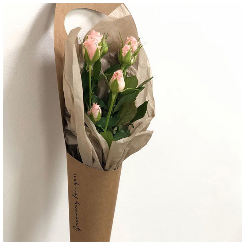 10pcs Simple Kraft Paper Bag Packaging Single Rose Bag Valentine's Day Flower Bouquet Pack Bags Decor Mini Floral Bag