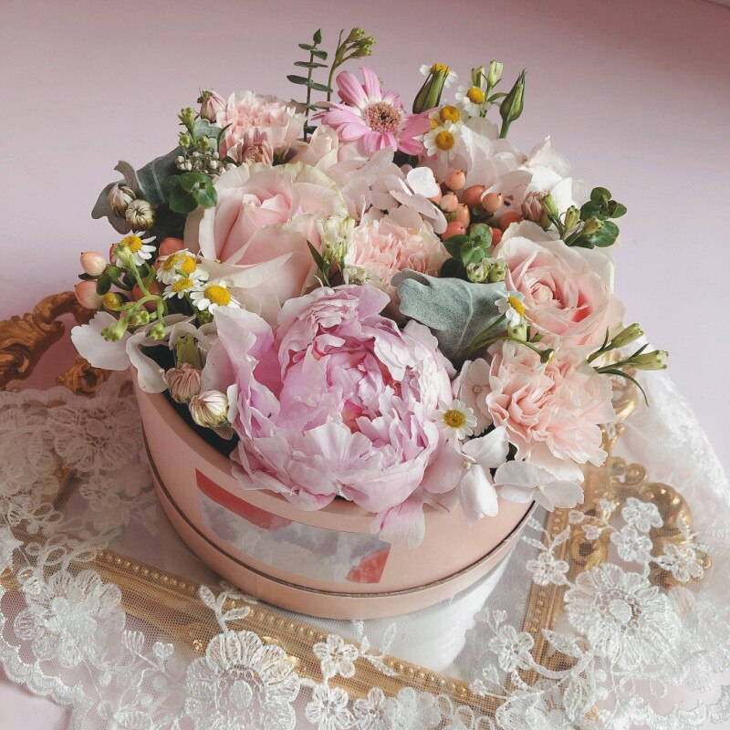 Paperboard Hand Hug Barrel Flowers Portable Box Small Round Hold Bucket Flower Gift Box Party Flower Shop Decor Packing Boxes
