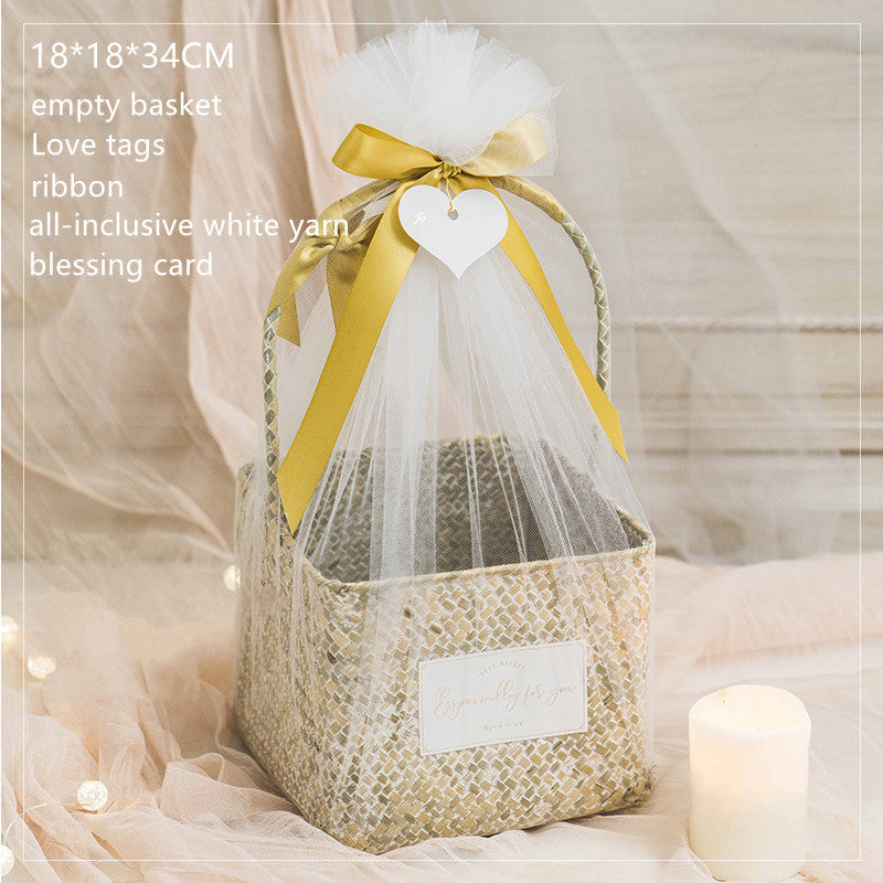 Handmade Woven Basket Wedding Favor Rustic Hand-held Flower Bouquet Baskets Florist Decoration for Party Supplies with Light