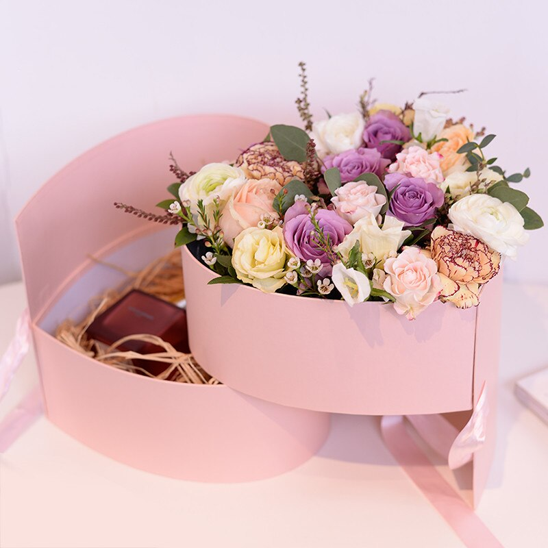 Heart-shaped Double Layer Packaging Rose Bouquet Gift Cardboard Box Valentine's Day Wedding Decor Boxes with Ribbon