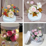 White Transparent Round Flower Holding Box Packaging Flower Bouquet Box Festival Party Favor Decor Packing Florist Boxes