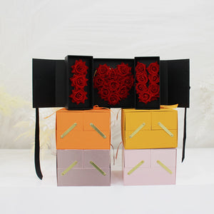 Love Double Square Box Packaging Flower Bouquet Box Valentine's Day Gifts Decoration Boxes with Wrapping Floral