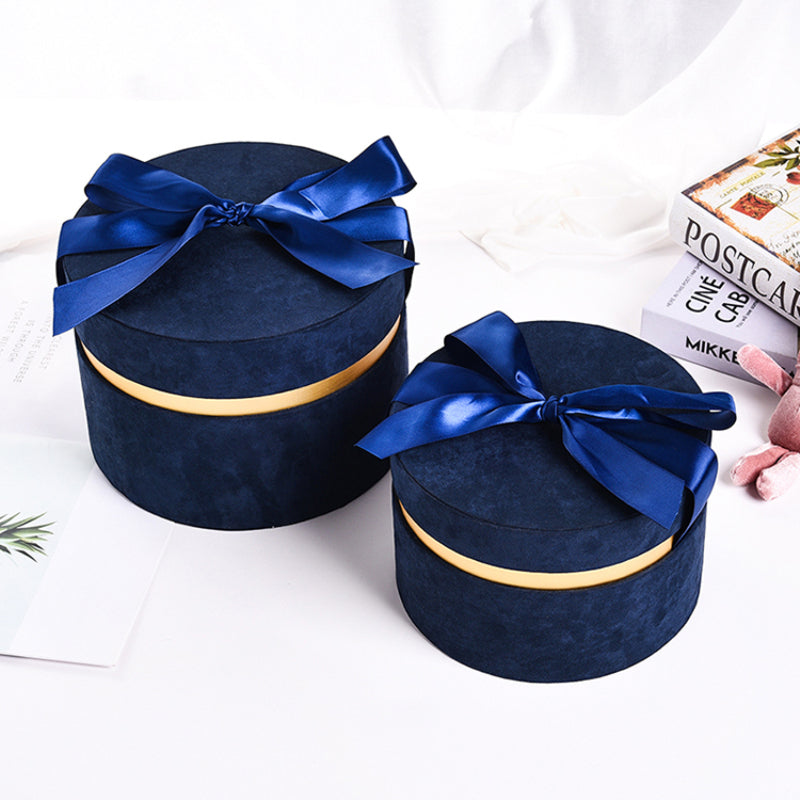 Round Phantom Velvet Flower Box Valentine's Day Birthday Party Favor with Handbox Decoration Florist Bouquet Packing Boxes