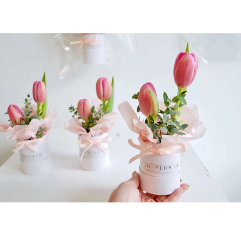 6/10pcs Mini Solid Round Box Bag Packaging Flower Bouquet Box Wedding Favor Decoration Box for Packing Florist Gifts Boxes