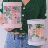 Mini Round Transparent Holding Barrel Box Packaging Flower Bouquet Box Wedding Favor Decoration Packing Gift Florist Boxes
