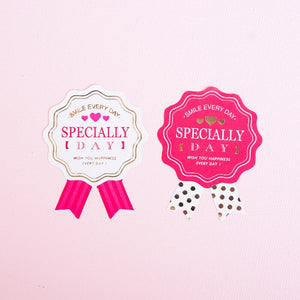 100pcs Bronzing Pink Sticker Valentine's Day Gifts Decorations Baking Desserts Packaging Box Decor Tags for Cakes