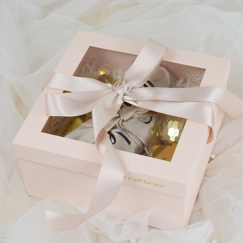 Square Gift Full Moon Cardboard Paper Flower Box Bridesmaid Valentine's Day Florist Gift Wedding Favor with Ribbon Boxes