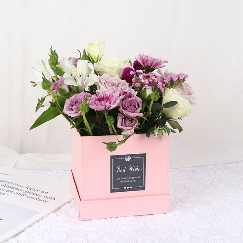 Solid Square Box Packaging Flower Bouquet Box Valentine's Day Gifts Decoration Box Wrapping Florist Gift Boxes