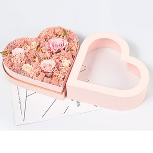 Lovely Heart PVC Window Box Paxkaging Flower Bouquet Box Wedding Favor Gifts Floral Package Boxes for Bridesmaid