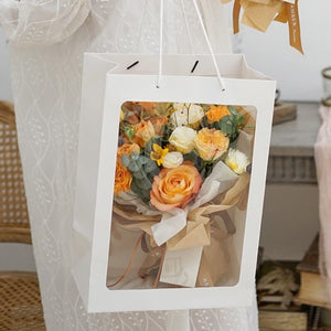 5pcs Large Size Flower Gift Packaging Paper Bag with Transparent Window Wedding Party Favor Creative Decoration Bouquet Bags