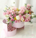 Double Layer Round Flower Paper Boxes with Ribbon Rose Bouquet Gift Packaging Cardboard Box