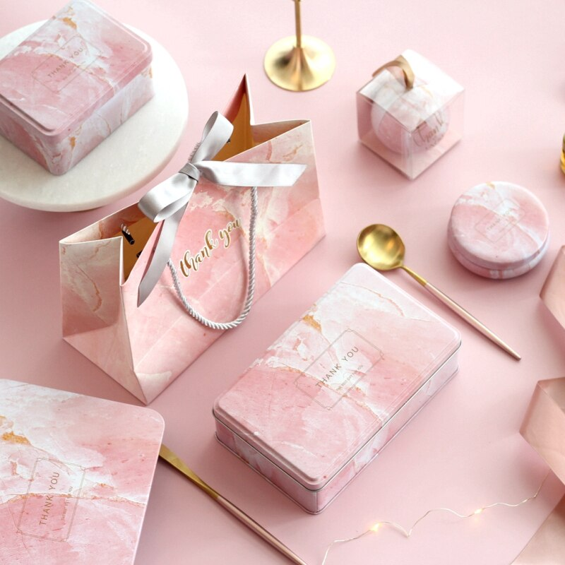 Creative Marble Rectangular Iron Box Wedding Favor Baking Box Birthday Party Decoration Supplies Gift Candy Cookies Boxes