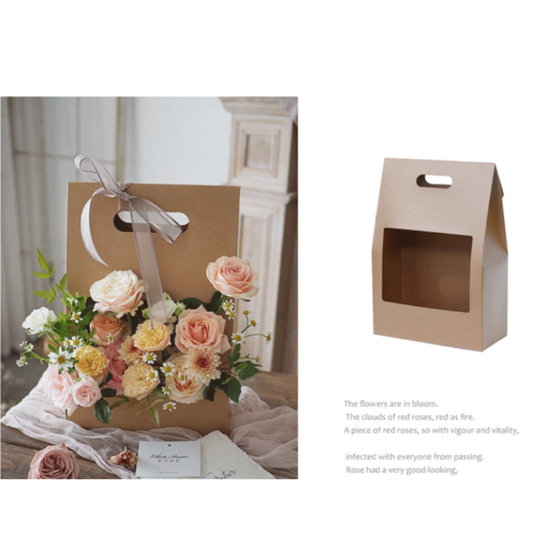5pcs Flower Gift Handbag Bag Christmas Gifts Bag Florist Present Storage Flower Boequet Handbag  Handle Bags with Window
