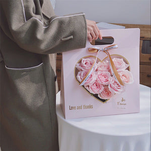 Creative Heart-Shaped Hand Bag Flowers Bouquet Packaging Bag Mother's Day Gifts Flower Decor Bags with Card