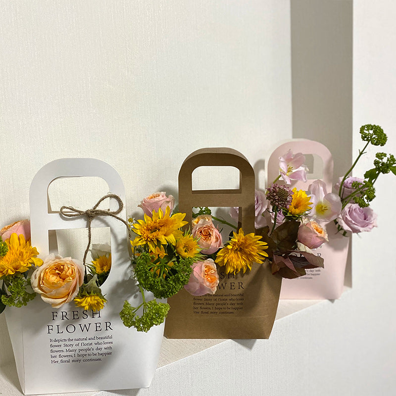 5pcs Flower Folding Paper Bag Hand-held Florist Bouquet Wrapping Bags Party Favor Decoration Floral Bag for Supplies