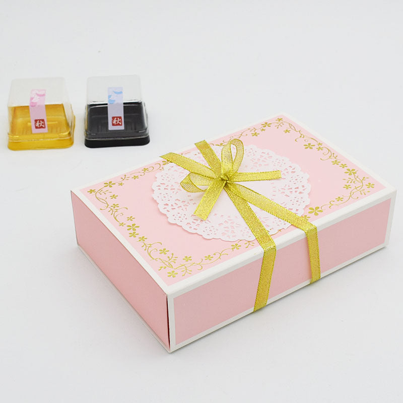 10pcs Pink Drawer Type Box Packaging Chocolate Biscuit Baking Box Festival Party Mooncake Decoration Box Pack Dessert Boxes