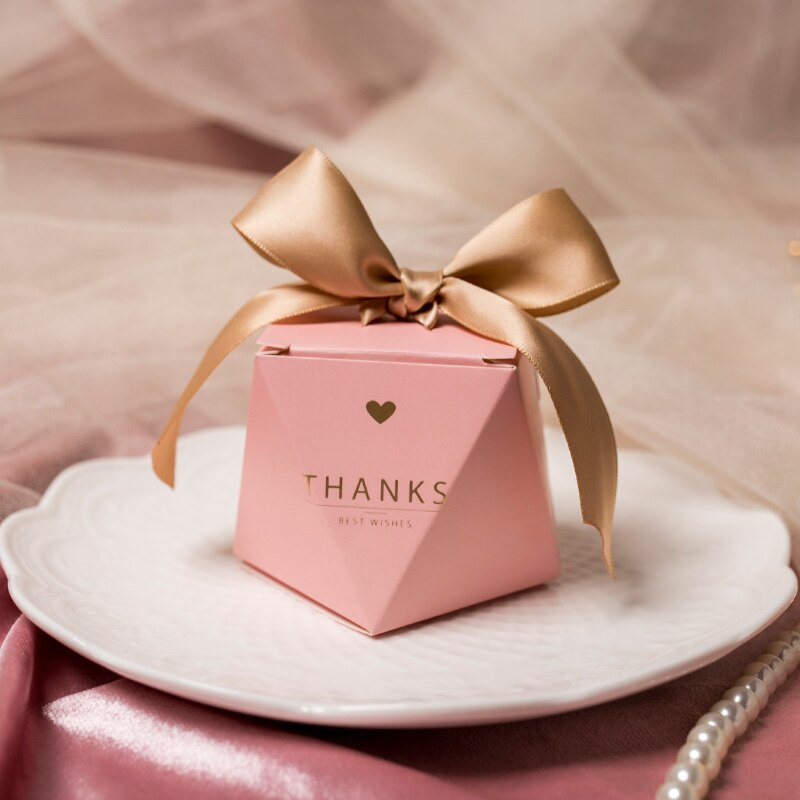 10pcs Pink Diamond  Wedding Favor Gifts Sugar Box Party Supplies Baby Shower Paper Chocolate Boxes Packaging Gift Boxes