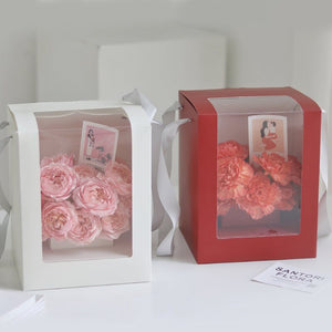 5pcs Single-Sided Window Square Solid Portable Box Packaging Flowers Bouquet Box Valentine's Day Gifts Florist Decor Boxes
