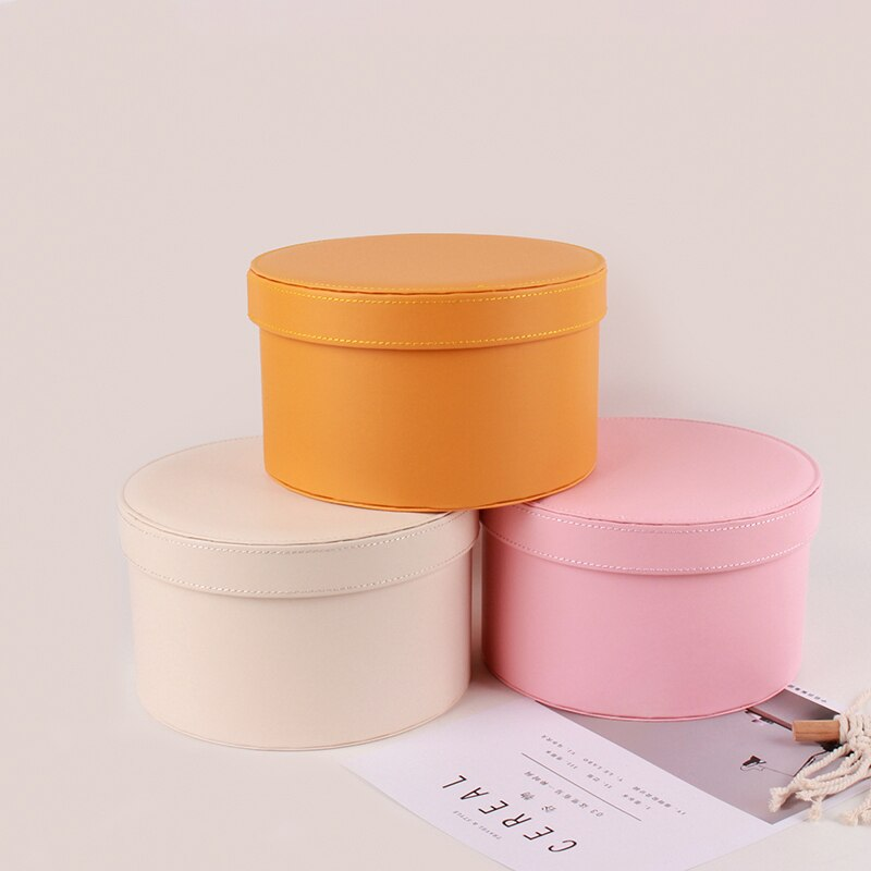 Solid Leather Round Box Wedding Favor Packaging Flower Bouquet Holding Bucket Valentine's Day Packing Florist Gifts Boxes