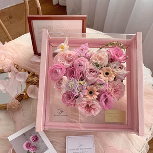 Transparent Heart Acrylic Gift Box with Lid Flowers Rose Bouquet Boxes