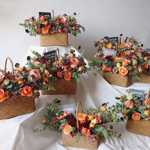 Handmade Straw Seagrass Rustic Wedding Favor Party Decoration Rope Woven Flower Basket Storage Home Decor Hand Baskets