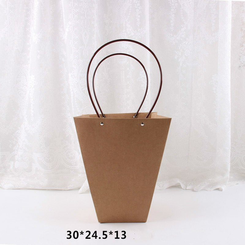 Kraft Paper Bags Flower Box with Handle Waterproof Bouquet Florist Gift Packing Box Valentine's Day Rose Boxes Party Decoration