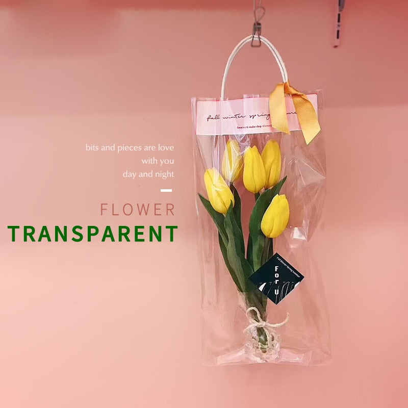 Transparent PVC Flower Bags with Handles Bouquet Florist Packaging Gift Bags Rose Box Valentines's Day Wedding Party