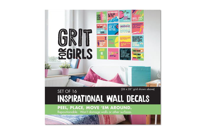 grit for girls inspirational wall decal set cover packaging