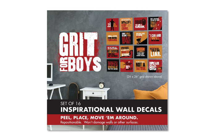 grit for boys inspirational wall decal set cover packaging