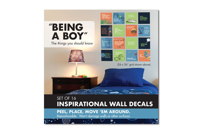 being a boy inspirational wall decal set cover packaging