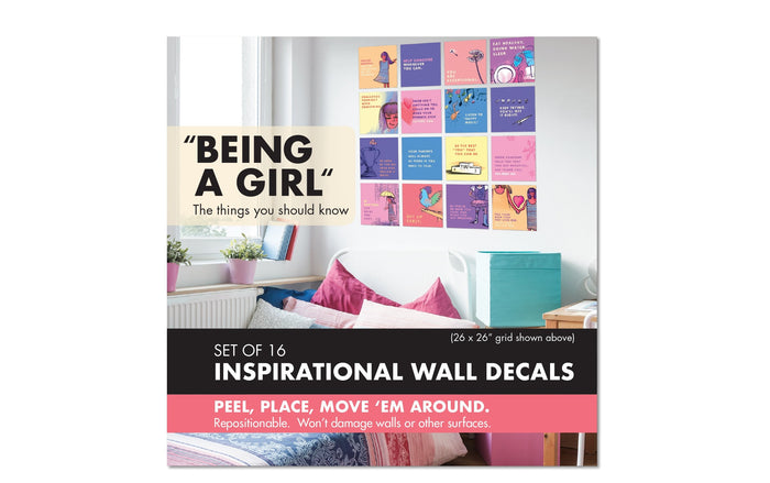 being a girl inspirational wall decal set cover packaging