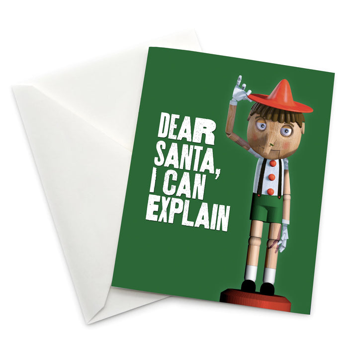 "Pinnochio ""Dear Santa, I can Explain"" Holiday Card"