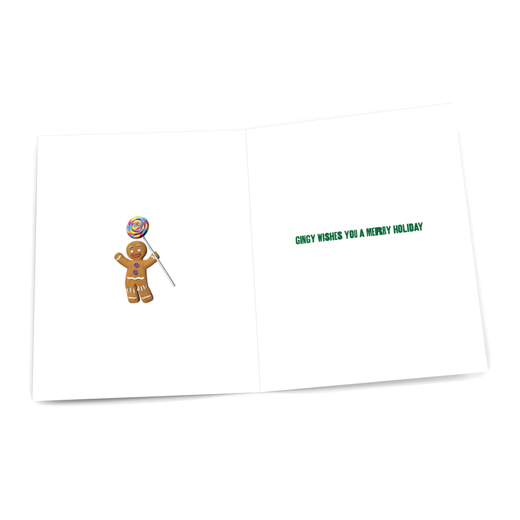 "Gingy ""Love, Peace & Gumdrop Buttons"" Holiday Card"