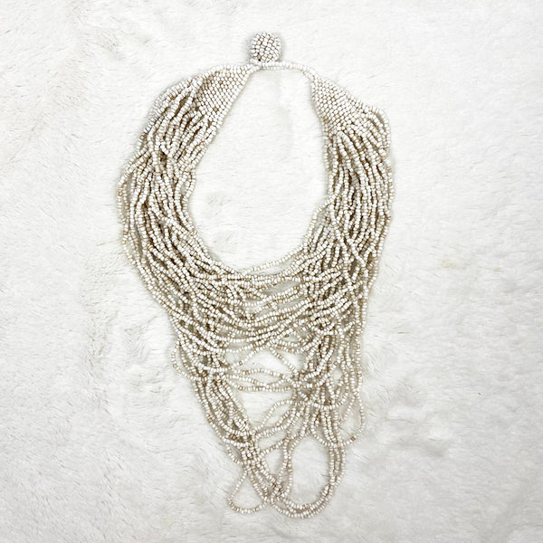 White Multi-Strand Beaded Necklace