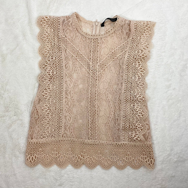 Sleeveless Pink Lace Top | Zara | Size M