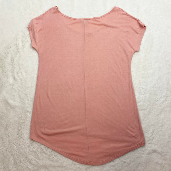 Dusty Pink Swoop Neck Tee | Lavon | Size L