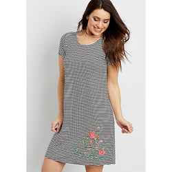 Striped T-shirt Dress with Floral Embroidery | Maurices