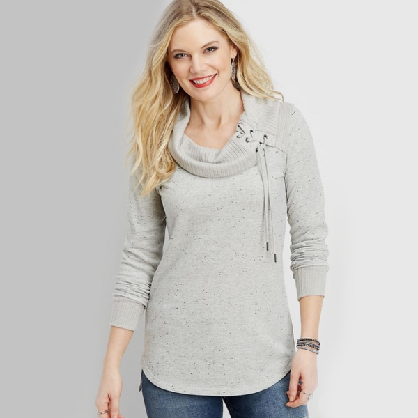 Lace Up Neck Pullover | Maurices