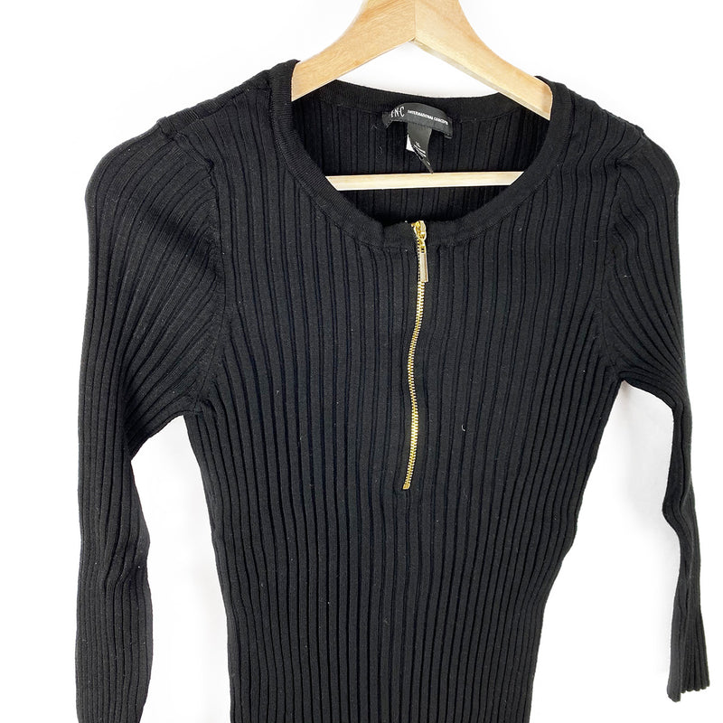 Ribbed Knit Zip-Up Top, Black | I.N.C. | Size XL