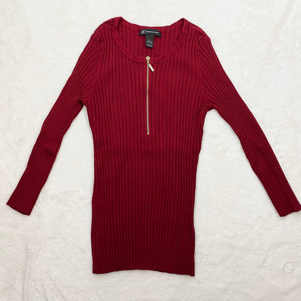 Ribbed Knit Zip-Up Top, Burgundy | I.N.C. | Size XL