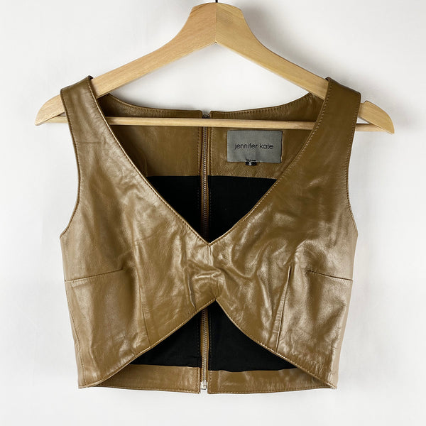 Leather Cropped Shell Tank | Jennifer Kate | Size S