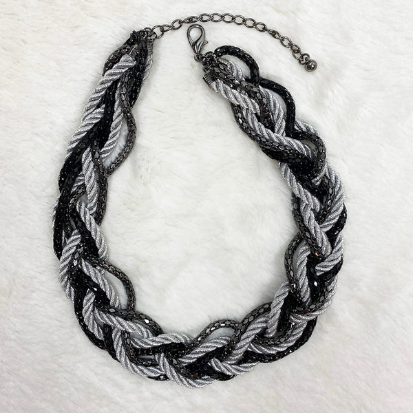 Silver + Black Braided Rope Necklace