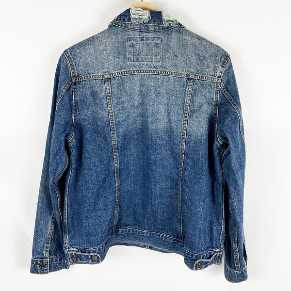 Distressed Denim Jacket | Ashley Vintage Charm | Size M