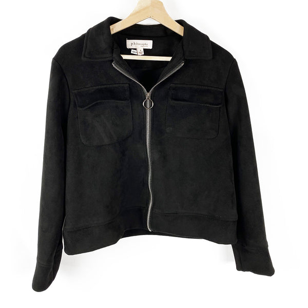 Faux Suede Jacket, Black | Philosophy | Size S
