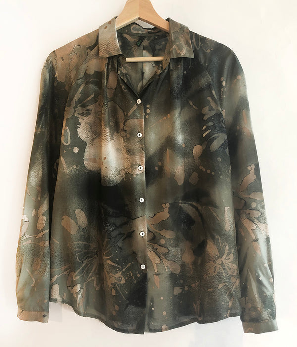 Thrift Store | Long Sleeve Silk Shirt | Benetton | Size XS